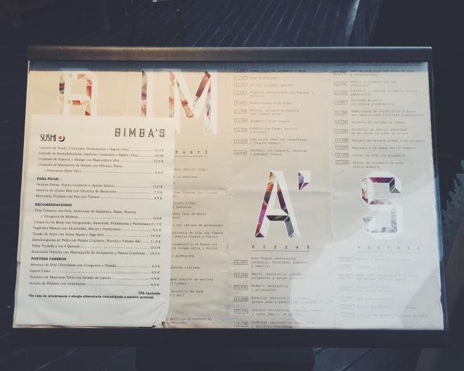 Carta del restaurante Bimba's
