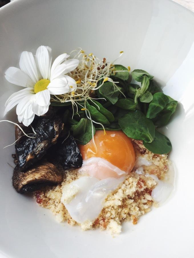 Migas de ibéricos con setas y huevos a baja temperatura de Merkado